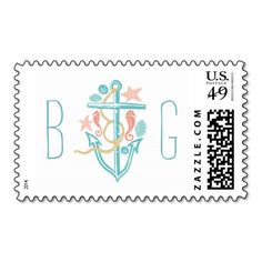 beach wedding postage stamps with anchor postage stamp