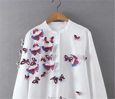 Fashion New Spring  Three-dimensional Butterfly Embroidery Blouse Women Loose Leisure Long sleeve Straight Long Shirt Tops