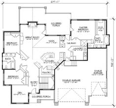Craftsman Style House Plans - 2406 Square Foot Home , 1 Story, 3 Bedroom and 2 Bath, 3 Garage Stalls by Monster House Plans - Plan 53-161