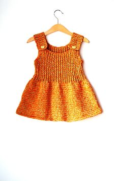 Knitted Girl Tunic Dress -%100 Cotton Yarn - Light Orange and Latte with ''wooden Hello Kitty'' buttons, 9-12 months