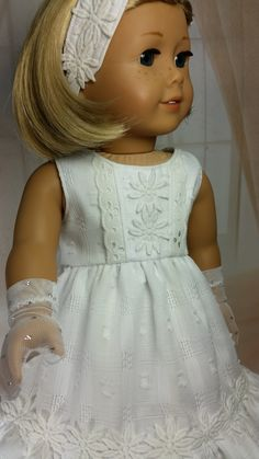 OOAK Doll Clothing, White Sleeveless Cotton Dress with attached Slip, Headband, Lace Tights and Gloves fits American Girl Doll SOLD