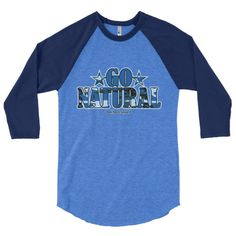 "Go Natural ""Blue Camouflage"" 3/4 Sleeve Raglan Men's T-Shirt"