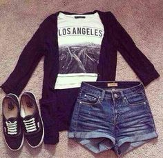 Maybe with a plaid flannel instead of cardigan and some stockings with the shorts