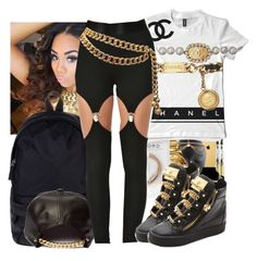 """""""."""" by eirinimaria ❤ liked on Polyvore featuring Converse, Bomedo, Nasty Gal, Giuseppe Zanotti and Chanel"""