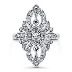 Sterling Silver CZ Art Deco Milgrain Statement Ring