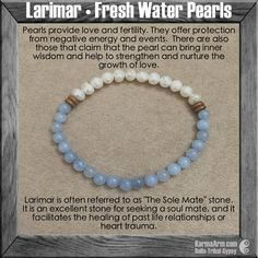 MANTRA: I will be provided with the love I seek. - 6-7mm Natural White Fresh Water Pearls - 6mm Natural Larimar Round Gemstones - Coconut Rondelles - Commercial Strength, Latex-Free Elastic Band - Han