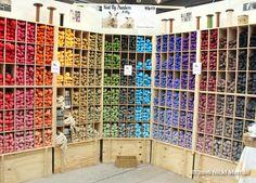 A glorious rainbow of Knit by Numbers wool from John Arbon Yarns at Wonderwool Wales 2016. #Britishyarn #Britishwool