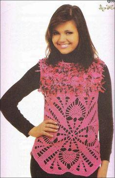 Chaleco con bello diseño / patrones crochet | Crochet y Dos agujas - Patrones de tejido