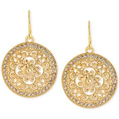 Hint of Gold Crystal Filigree Drop Earrings in 14k Gold-Plated Brass ($27) ❤ liked on Polyvore featuring jewelry, earrings, no color, 14k gold jewelry, yellow gold drop earrings, 14 karat gold earrings, gold plated drop earrings and gold plated jewelry