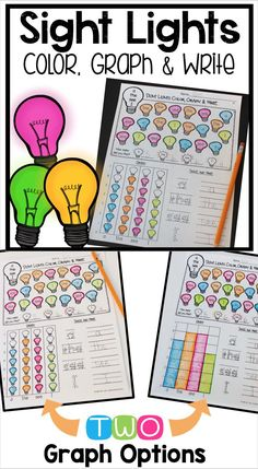 Sight Word Graphing - Sight word practice, writing, and math skills all in one activity! All DOLCH Pre-Primer, Primer and First Grade Words are included. This makes an easy, no prep sight word center for kindergarten and first grade students. First Grade Activities, Sight Word Activities, Phonics Activities, Kindergarten Activities, Kindergarten Classroom, Classroom Ideas, Sight Word Centers, Sight Word Practice, Sight Word Games
