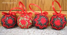 red quilted christmas ornaments