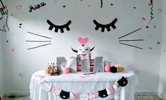 Kitty cat party - fiesta gatuna ideas - Tap the link now to see all of our cool cat collections! Girl Birthday Themes, Cat Birthday, 2nd Birthday Parties, Birthday Decorations, Birthday Ideas, Cat Themed Parties, Slumber Parties, Kitty Party, Party Fiesta