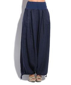 Navy Blue Linen Maxi Skirt
