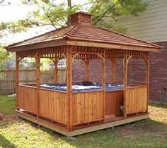 Cedarshed offers small and large Square Gazebos for sale. These outdoor wooden hot tub gazebo kits can be screened in and include cedar roof and diy kit plans. Gazebo Diy, 10x10 Gazebo, Hot Tub Gazebo, Gazebo Plans, Garden Gazebo, Pergola, Gazebo Ideas, Screened Gazebo, Backyard Gazebo