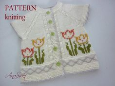 The cardigan is worked top down, back and forth on circular needle from mid front. Skill level:Intermediate Language:English Тechniques used: Fair isle, Duplicate stitch. Pattern Baby, Baby Knitting Patterns, Baby Patterns, Hand Knitting, Knitted Baby Cardigan, Baby Pullover, Cardigan Pattern, Baby Fur Vest, Baby Blue Prom Dresses