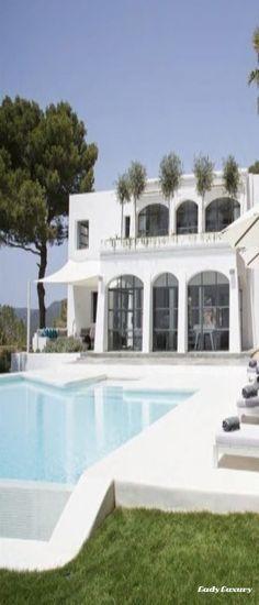 Villa Ibiza Spain | LadyLuxuryDesigns Ibiza Spain, Beach Homes, Facades, Coastal Living, Photo Editor, Beautiful Homes, Sweet Home, Villa, House Ideas
