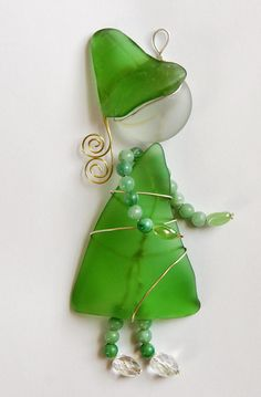 Green Sea Glass SuncatcherSea Glass Sunbonnet Girl by oceansbounty, $26.00