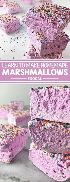 Have you ever wanted to learn how to create designer marshmallows right in your own kitchen? Get the inside scoop and find out how you can create your favorite varieties with our simple recipe. From plain vanilla to chocolate to strawberry or whatever you Recipes With Marshmallows, Homemade Marshmallows, Homemade Candies, Marshmallow Recipes, Gourmet Marshmallow, Candy Recipes, Dessert Recipes, Fudge Recipes, Goodies