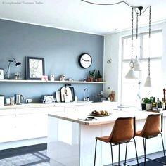 Grey blue kitchen colors kitchen wall grey blue kitchen walls with white cabinets grey kitchen walls Grey Painted Kitchen, Light Grey Kitchens, Paint For Kitchen Walls, White Kitchen Decor, Elegant Kitchens, Kitchen Ideas, Kitchen Interior, Best Kitchen Colors, Kitchen Cabinet Colors