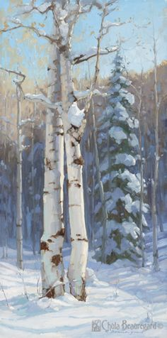 """""""Baby, It's Cold Outside"""" 24x12 explores the interaction between two trees and winter colors."""