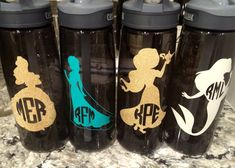 Vinyl Disney Monogrammed Water Bottles - Crafting and DIY using a Cricut Explore