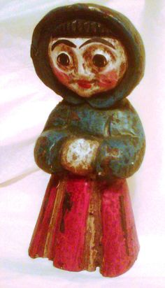 Primitive painted wood folk art carving of lady by waysidemarket, $24.99