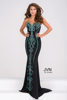 JVN Prom by Jovani Style JVN49357. Sz. 2, Black/Teal, $440 available at Debra's Bridal Shop, Philips Hwy., Jacksonville, FL, 32250. 904-519-9900.