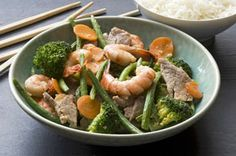 Stir-fry recipes are a great way to serve up dinner in less than 20 minutes.  Try our stir-fry recipe made with slices of pork tenderloin and shrimp, combined with vegetables in an Asian-inspired sauce.