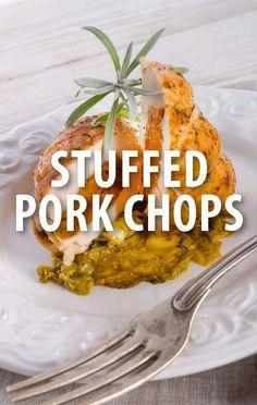 The Chew Chewer Vs Viewer: Michael Symon Stuffed Pork Chops Recipe Pork Chop Recipes, Bacon Recipes, Chef Recipes, Cooking Recipes, Healthy Recipes, Pork Meals, The Chew Tv Show, The Chew Recipes, Pork Bacon
