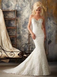 Corte trompeta/sirena escote corazón barrer/cepillo tren encaje vestido de novia con appliqué