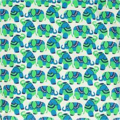 Smafolk Bettwäsche Elefanten grün/blau ADULT - www.lolakids.de
