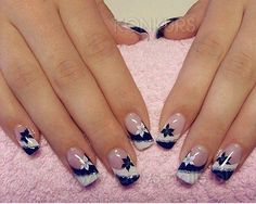 Navy Blue and White Floral Nails