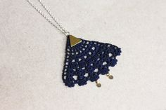 Geometric necklace triangle crochet jewelry long by loukippi, $20.12