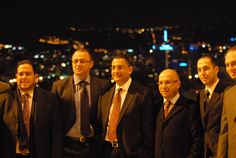 Clients from Middle East in Barcelona, 2012. MNAC, with views on the skyline of Barcelona.