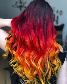 163 hot red hair color shades to dye for red hair dye tips & ideas page 6 Yellow Hair Color, Pretty Hair Color, Beautiful Hair Color, Hair Dye Colors, Ombre Hair Color, Ombre Hair Dye, Ombre Hair Rainbow, Galaxy Hair Color, Red Orange Hair