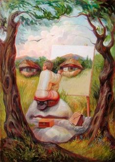 These amazing optical illusions have been created by Ukrainian artist Oleg Shuplyak.Merging portraits of famous figures from art and fiction with landscapes and images from nature, his work requires a. Illusion Kunst, Illusion Art, Optical Illusion Paintings, Optical Illusions, Hidden Images, Art Pictures, Photos, Drawing Skills, Op Art