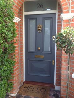 Gorgeous Victorian front door in Farrow & Ball's Downpipe with Voysey & Jones Vi. - Gorgeous Victorian front door in Farrow & Ball's Downpipe with Voysey & Jones Vintage door furnit - Best Front Door Colors, Best Front Doors, Grey Front Doors, Painted Front Doors, Front Entry, Front Door Glass Panel, Red Doors, Glass Door, Farrow Ball