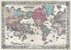 """Wall Map of the World - Antique Map Print 24 - 26"""" x 36"""""""
