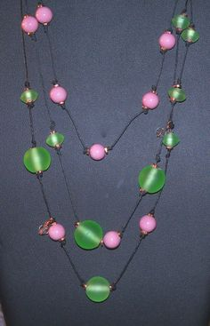 Green Glass and Pink Stoneware Bead Necklace by Justatishdesigns, $28.00