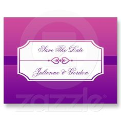 Pink and Purple Gradient Hearts Save The Date