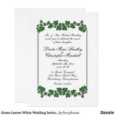 Pin by pat tarleton on cards 2017 christmas pinterest green leaves white wedding invitation 65 x 875 m4hsunfo