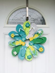 Flip Flop Wreath with Greens, Turquoise, and Pineapple