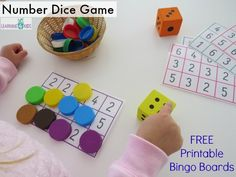 Subitising, number and counting dice game - free printable bingo mats by learning 4 kids
