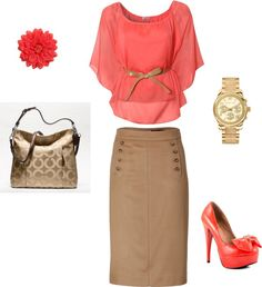 """Coral and Tan"" by nessaelayne99 on Polyvore"