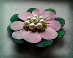 nylon & diary brooch lotus flower. 99% recycled! - the brooch back I bought!