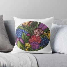 'Flower Bouquets ' Throw Pillow by Laurajart Bright Flowers, Flower Bouquets, Large Prints, My Arts, Vibrant, Fancy, Colours, Throw Pillows, Printed