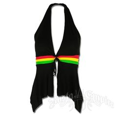 This rasta and reggae black top has a halter neckline. The back is completely open and the front has an open slit from the bust down. The black is cut with a halter v-neck line and diamond square hanging down the front. There is a black tie between the padded busts. You will also find three rasta colored stripes under the bust that lead to strips in the back to tie and keep the shirt closed. Hand Wash cold water. Do not dry. 95�0rayon