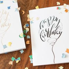 Happy Birthday Balloon Cards | Fingertips Calligraphy, handwritten, no print