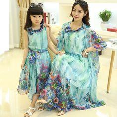 2015 Moda Matching mãe da filha roupa Família olhar vestido de verão vestidos estilo Outfit pai-filho Ma e Filha Maxi Vestido
