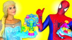 Frozen Elsa and Spiderman VS Play Dough Cake Ball-Elsa-Elsa Frozen-Spide...